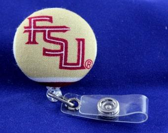 FSU Badge Reel, Seminoles Badge Reel, Retractable Badge, Nurse Badge Reel,Teacher Badge, Fabric Badge