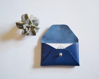 Blue leather card holder / Blue envelope card holder / Blue leather business card case / Genuine leather