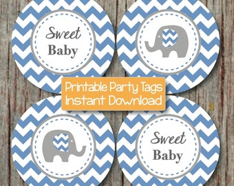 Baby Shower Printable Favor Tags DIY Cupcake Toppers Sticker Labels Ocean Blue Grey Elephant Sweet Baby Shower Supplies INSTANT DOWNLOAD 087