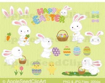 Happy Easter Digital Clip Art, Easter Digital Clip Art, Easter Bunny Digital Clip Art, Easter Rabbit Easter Egg DIgital Clip Art