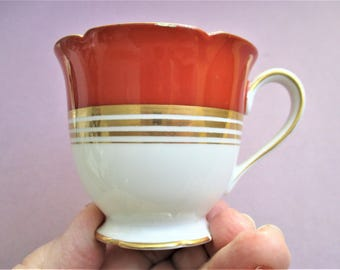 Noritake Espresso Cup Red and Gold Porcelain Demitasse Cup Vintage Small Noritake Morimura Tea Cup Burgundy Gold Gilt Hand Painted Japan