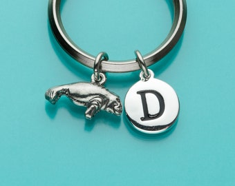 Manatee Keychain, Manatee Key Ring, Sea Cow Charm, Sea Creature, Initial Keychain, Personalized Keychain,Custom Keychain,Charm Keychain, 248