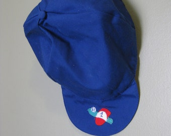 Vintage BASEBALL CAP- Blue Baseball Cap- Blue Boys Hat- Size 24 Months- Baby Hat- Childrens Baseball Cap- Birthday Outfit- Photo Prop