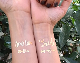 Bachelorette Tattoos | Bride Tribe Tattoo | Flash Tattoos | Temporary Tattoos | Metallic Tattoos | Bachelorette Party Tattoos | Gold Tattoos
