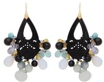 Large chandelier gemstone earrings
