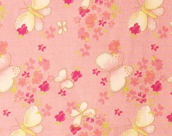 Cotton Fabric By The Yard - Floral and Butterfly Print on Light Pink - 1 yard - ctnp256