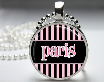 Summertime In Paris (Series 1) Round Pendant Necklace with Silver Ball or Snake Chain Necklace or Key Ring