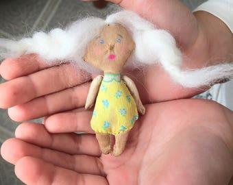 Primitive doll brooch