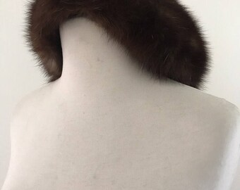 Vintage 1950s Brown Mink Hat / Vintage 50s Bergdorf Goodman Fur Hat
