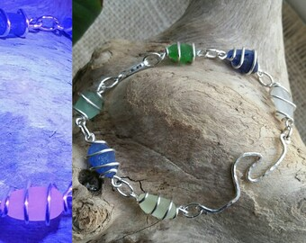 Multi colored sea glass bracelet with UV sea glass- beach glass bracelet - wire wrapped bracelet