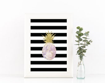 Purple and Gold Print, Black and White Stripe Printable, Gifts for her, Housewarming Print, Gold Sparkle, printable wall art,pineapple art