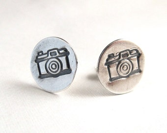 Camera Earrings - Sterling Silver Studs - Photographer Gift