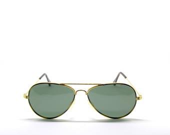 POLAROID Gold Metal aviator New Vintage Sunglasses - Original Vintage - 90s - New old stock