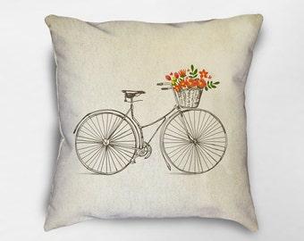 Bicycle Throw Pillow, Bike Pillow, Bicycle Gift, Bicycle Decor, Spring Pillows, Spring Pillow Cover, Spring Decor, Dorm Pillows, Bike Lover