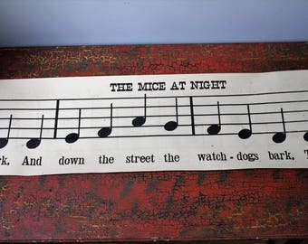 "Early 1900's Classroom Music Scroll - 101"" - Double Sided - The Mice at Night - Clouds"
