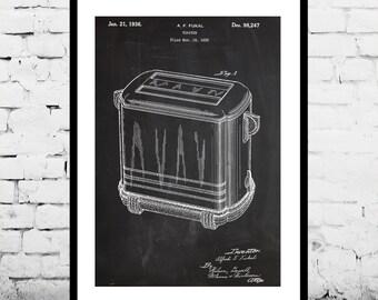 Toaster Print, Toaster Patent, Toaster Poster, Toaster Art, Vintage Toaster Design, Kitchen Decor, Kitchen Wall Decor