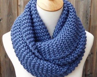 Steel Blue Infinity Scarf - Medium Blue Infinity Scarf - Chunky Knit Scarf - Circle Scarf - Ready to Ship