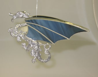 Glass Dragon Figurine Blue Opalescent Stained Glass Wings - Made to Order (DRA003)