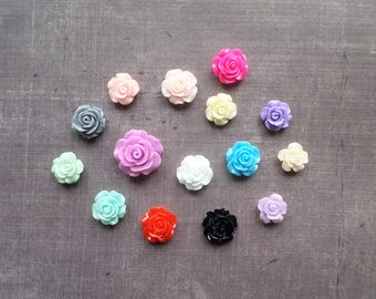 20 resin Rose flowers set mix of colors and size