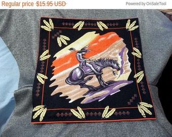 Large Throw Pillow Cover, Indian Warier on Horseback Print, OOAK