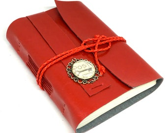 Red Faux Leather Journal with Blank Paper, Cameo, Handcrafted Journal, Travel Journal, Red Notebook, Vegan Journal, Mother's Day
