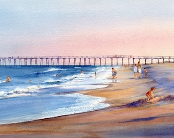 Return to Wrightsville Limited Edition giclee coastal beach with the old Crystal Pier