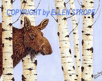 CARDS, Moose, Blank Cards, Cow Moose, Aspen trees, Moose decor, Cabin decor, Lodge decor, Ellen Strope