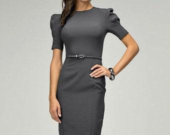 Elegant dress evening Gray dress for women Spring dress Autumn Clothes Jersey dress Short sleeve dress knee dress Occasion dress