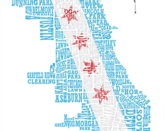Chicago Neighborhood Map with Chicago Flag 11x14in print