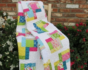 Springtime Quilt/Throw/Lap Quilt/Lap Blanket/Colorful Quilt/Easter Quilt/Mother's Day Gift/Wedding Gift/Summertime Quilt