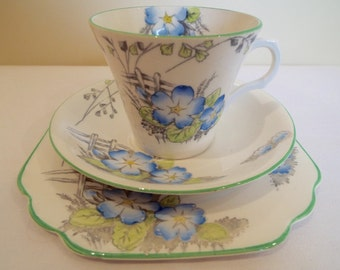 Vintage Melba Tea Cup and Saucer, Blue and White with Pretty Blue Primroses. Teacup and Cake Plate Trio, Perfect For An Afternoon Tea Party