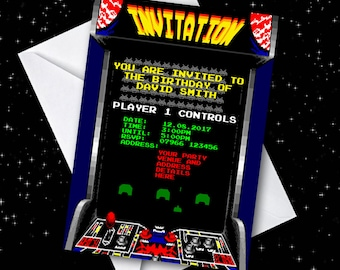 Personalised Arcade Game/Space Invaders Birthday Party Invitations - Pack of 20