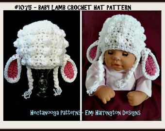crochet pattern hat, Baby Lamb Hat CROCHET PATTERN, Newborn to 5 years,  crochet for baby, hat crochet pattern, baby hat