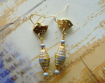 Gray and Gold Bird Earrings (4349)