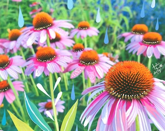 Purple Coneflowers Art Print | Mixed Media Painting | Floral Photograph | Katie Daisy | 8x10 | 11x14