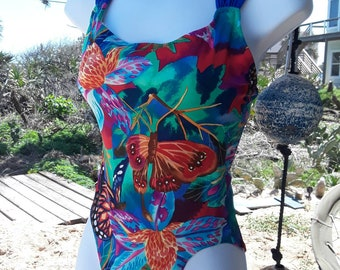 Colorful 80s bathing suit, vintage 80s bathing suit, 80s swimwear, butterfly bathing suit, cross strapped bathing suit, tropical flower