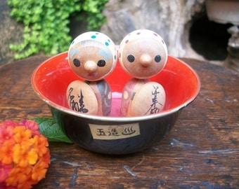 1960s Japanese Boy And Girl Kokeshi On A Hot Tub Onsen