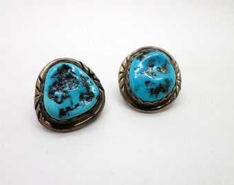 Vintage Native American Style Handmade Rich Blue Turquoise and Sterling Silver Earrings