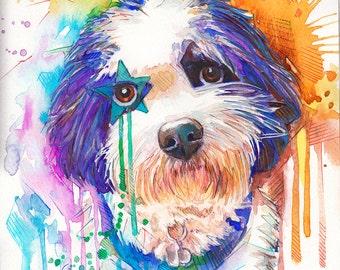 Custom Pet Portrait , Original watercolor painting Custom pet portrait watercolor painting, Custom portrait, Pet portrait Dog portrait