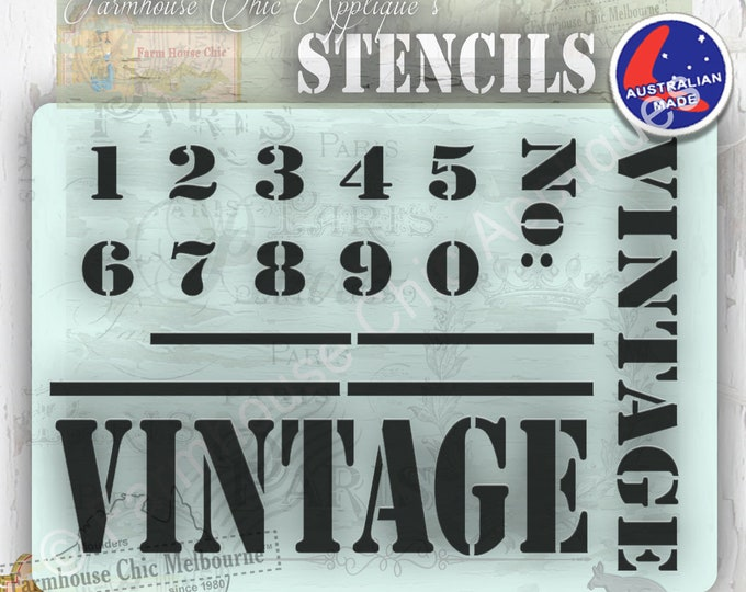 Vintage Stencil Mylar Furniture Stencil, French Style Vintage Stencil, Numbers Stencil, Art Stencil Kitchen Stencil, Pochoirs de meubles,