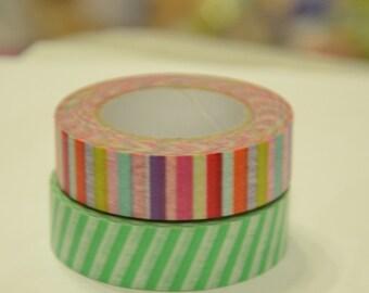 2 Rolls of Japanese Washi Masking Tape Roll- Stripes