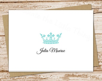 crown note cards, notecards . personalized stationery, stationary . royalty, royal crown . set of 8