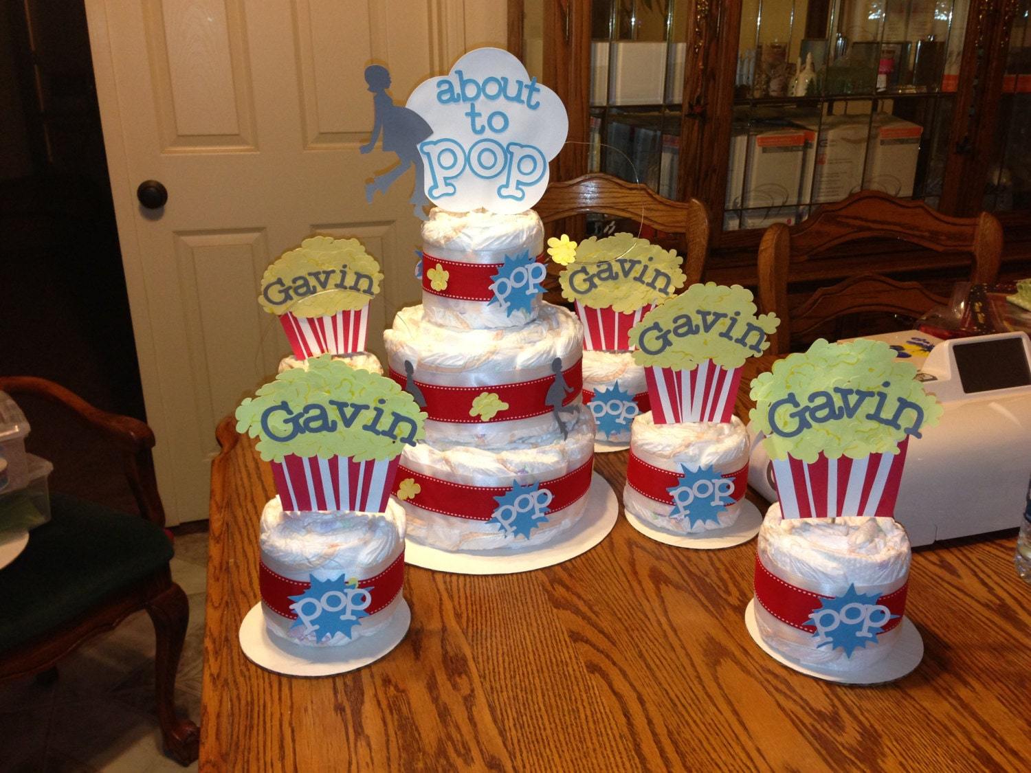 Baby Shower Themes Ready To Pop ~ About to pop diaper cake popcorn theme package popcorn baby