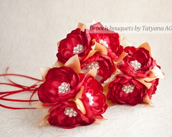 Bridesmaids Brooch bouquet. Red and Gold Brooch Bouquet