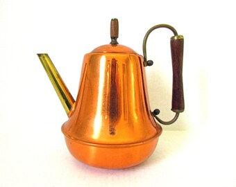 SPARTAN Teapot, Mid Century Teapot, Tinned Interior, Wood Handle and Knob, Copper and Brass Teapot, Copper Kitchen Decor, Metal Teapot