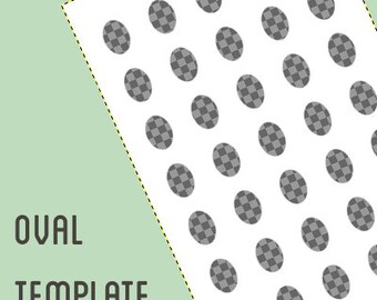 Oval digital collage template -2 different sizes - 18 x 25 mm and 20 x 25 mm -  oval template
