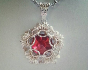 Ring O Roses Pendant Chainmaille tutorial