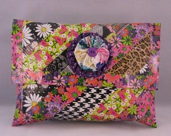 Handmade Clutch,   Handbags, Purses,  Funky Clutch,  Eclectic Clutch, Black and White Clutch, Boho Clutch, Chic Clutch, Arty Clutch