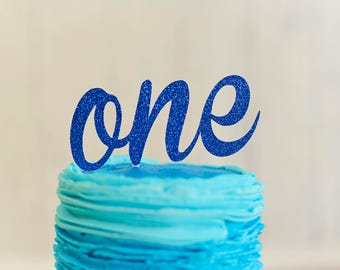 Blue One Cake Topper, ONE Cake Topper, First Birthday Cake Topper, Smash Cake Topper