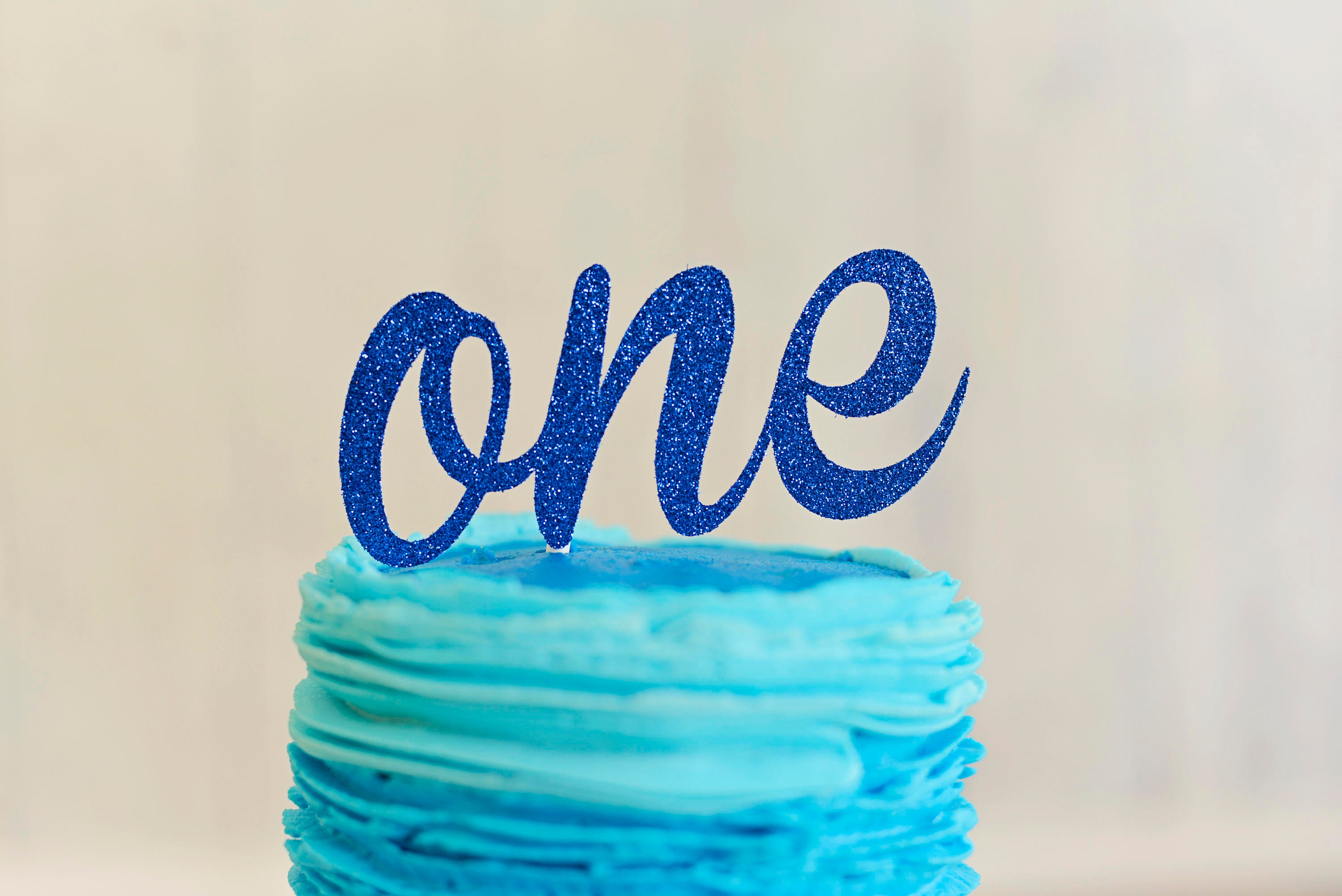 Blue One Cake Topper ONE Cake Topper First Birthday Cake Topper